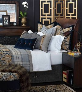 Get whisked away to a 19th-century aristocratic mansion with luxurious Arthur. Its handsome plaids create a tailored backdrop worthy of Savile Row's bespoke suit makers while richly colored floral textiles recall sumptuous medallion-pattern rugs. Adorn the regal collection with lavish velvet pillows or cross-merchandise with the faux fur Mogli Minx throw for added texture.