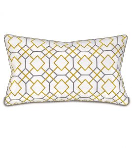 Decorative pillow in a graphic design fabric Knife edge finishing Plume Feather pillow insert Zipper closure for easy care Made in U.S.A